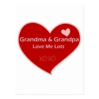 Grandma & Grandpa Love Me Postcard