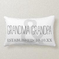 GRANDMA & GRANDPA New Grandparent Custom Date Lumbar Pillow