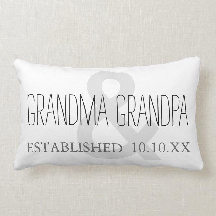 Grandma Grandpa New Grandparent Custom Date Lumbar Pillow Zazzle Com