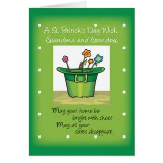 Grandma & Grandpa, St. Patrick's Day Hat with Flow Card