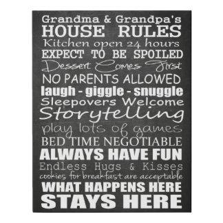 Grandma & Granpa's House Rules on Faux Canvas