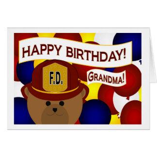Grandma - Happy Birthday Firefighter Hero! Card
