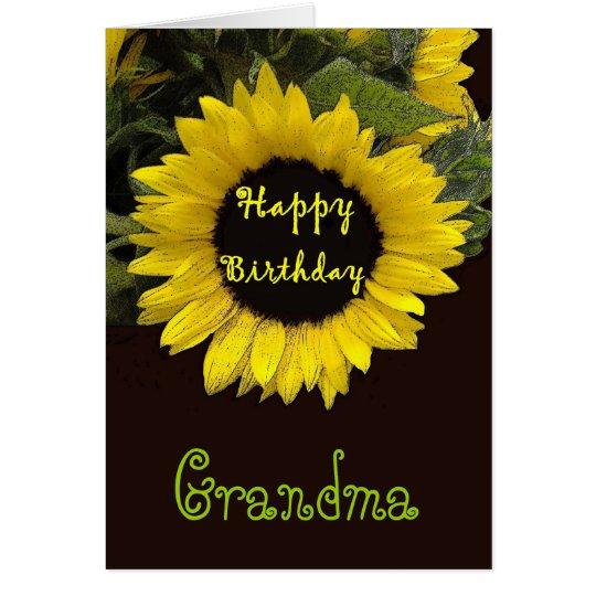 GRANDMA Happy Birthday with Cheerful Sunflower Card