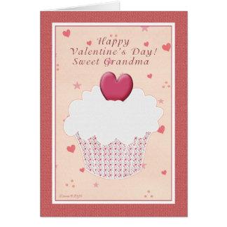 Grandma Happy Valentine's Day -  Heart Cupcake Card