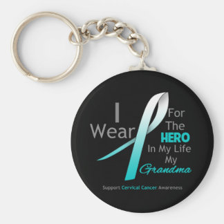 Grandma - Hero in My Life - Cervical Cancer Basic Round Button Keychain