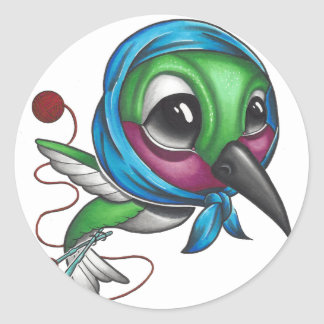 Grandma Humming Bird Classic Round Sticker