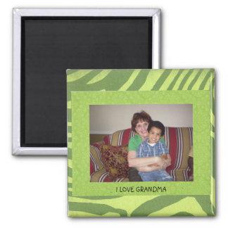 "Grandma: ""I Love Grandma"" Photo FrameTemplate 2 Inch Square Magnet"