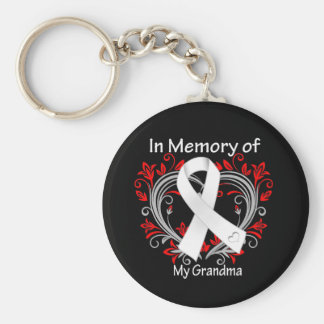 Grandma - In Memory Lung Cancer Heart Basic Round Button Keychain