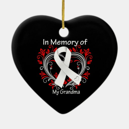Grandma - In Memory Lung Cancer Heart Double-Sided Heart Ceramic Christmas Ornament