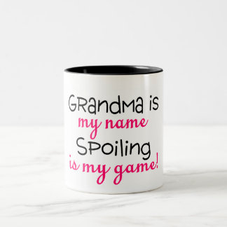 Grandma Is My Name Spoiling Is My Game Two-Tone Coffee Mug