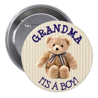 Grandma, Its a Boy Teddy Bear Baby Shower Button