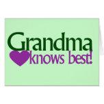 Grandma knows best cards