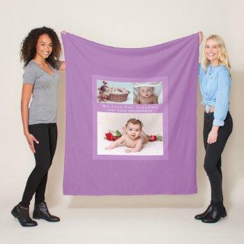 Grandma Loves Her Family Photo Collage Soft Cozy Fleece Blanket
