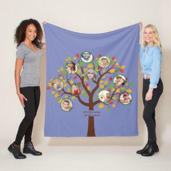 Grandma Loves Her Family Tree Photo Collage Soft Fleece Blanket