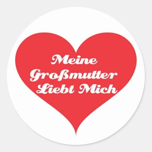 Grandma Loves Me German Classic Round Sticker
