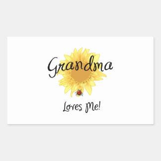 Grandma Loves Me Rectangle Stickers
