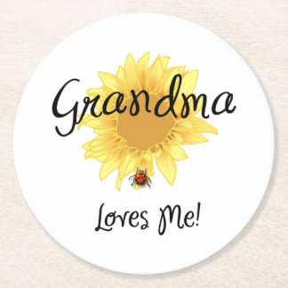 Grandma Loves Me Round Paper Coaster