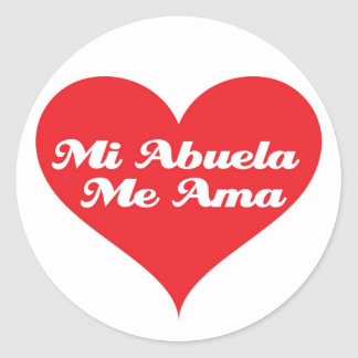 Grandma Loves Me Spanish Classic Round Sticker