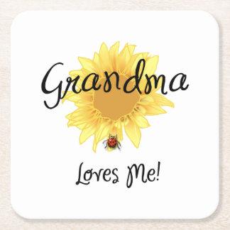 Grandma Loves Me Square Paper Coaster