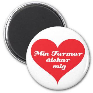 Grandma Loves Me Swedish 2 Inch Round Magnet
