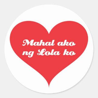 Grandma Loves Me Tagalo Classic Round Sticker