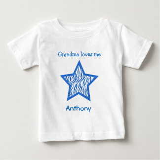 Grandma Loves Me with BLUE Zebra pattern BOY Baby T-Shirt