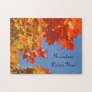 Grandma Loves You! puzzles gifts Autumn Leaves Sky