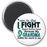 Grandma Means World To Me Ovarian Cancer 2 Inch Round Magnet