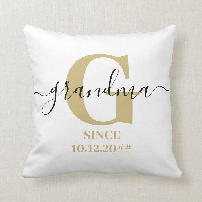 Grandma Monogram Elegant Script Subtle Ochre Throw Pillow Zazzle Com