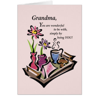 Grandma, Mother's Day, Breakfast in Bed, Pink Card