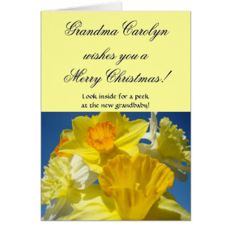 Grandma Name Cards wishes Merry Christmas Holiday