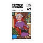Grandma Napping - postage stamp