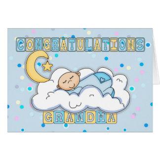 Grandma New Baby Boy Congratulations Card