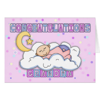 Grandma New Baby Girl Congratulations Card