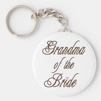 Grandma of Bride Classy Browns Basic Round Button Keychain