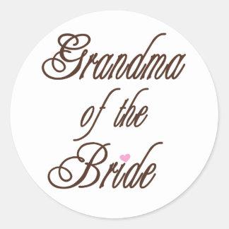 Grandma of Bride Classy Browns Classic Round Sticker