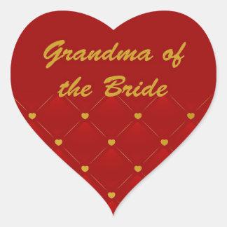 Grandma Of Bride Heart Sticker