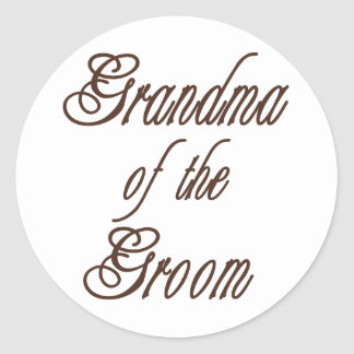Grandma of Groom Classy Browns Classic Round Sticker