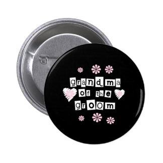 Grandma of Groom White on Black 2 Inch Round Button