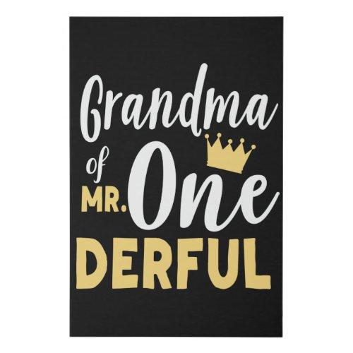 Grandma of Mr Onederful St Birthday Faux Canvas Print