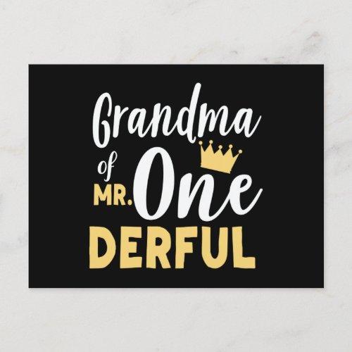 Grandma of Mr Onederful St Birthday Postcard