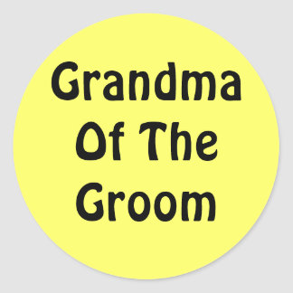 Grandma Of The Groom Classic Round Sticker