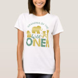 """Grandma of the Wild One Safari 1st Birthday Gold T-Shirt<br><div class=""""desc"""">This design is in our gold and green safari """"wild one"""" theme, featuring faux gold baby animals accented by gold dots and tropical palm branches. Click the customize button if you would like to move/scale the images and further modify the text! Variations of this design, additional colors, as well as...</div>"""