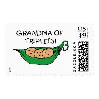 Grandma of Triplets Pod Postage Stamp