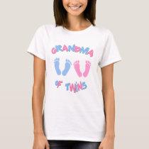 Grandma of Twin Babies Footprints T-Shirt