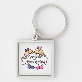 Grandma of Twin Girls Gifts Silver-Colored Square Keychain