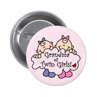 Grandma of Twin Girls Tshirts and Gifts Button