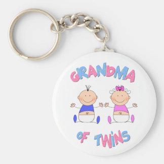Grandma of Twins Basic Round Button Keychain