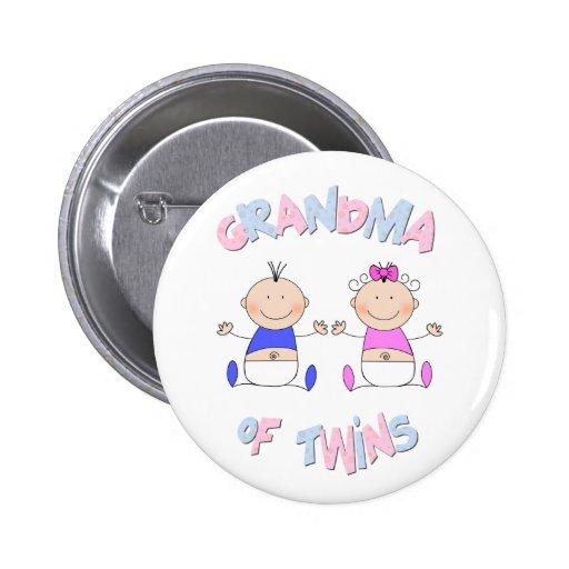 Grandma of Twins Pinback Button