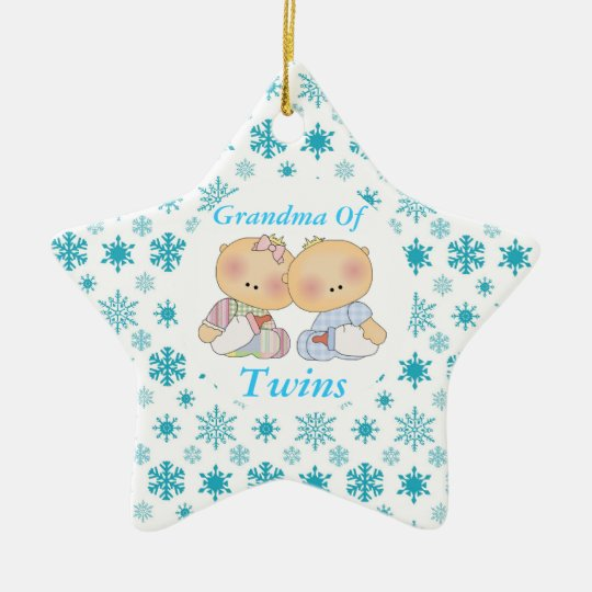 Grandma Of Twins Cute Baby Keepsake Ornament Gift